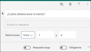 Pregunta de texto que se muestra con una restricción de números de entre 1 y 6